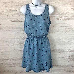 Velvet Heart Chambray Star Print Ruffle Dress